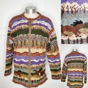 Icelandic Design Southwest Horse Sweater Jacket